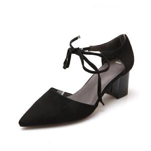 O'SHELL欧希尔夏季上新007-5-22欧美磨砂绒面粗跟高跟尖头女士凉鞋