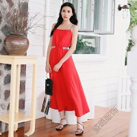 长裙字母吊带一字领连衣裙女波西米亚度假沙滩裙夏 红色