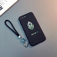 新款手机壳挂绳XR刺绣花苹果Xs Max女款6sp保护套潮 6/6s 4.7寸(Miss you)