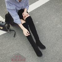 过膝长靴长筒靴子女冬款新款平底百搭增高显瘦高筒弹力女靴弹力布绒面学生修脚显瘦长靴少女高筒靴 黑色