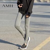 Amii春秋季新品时尚运动休闲弹力显瘦薄款外穿打底裤女