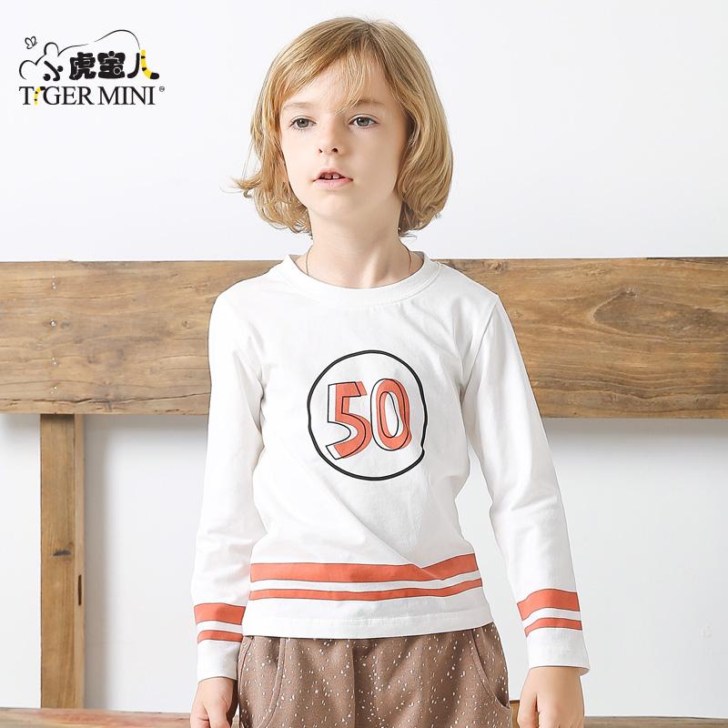 小虎宝儿童装男童长袖T恤儿童纯棉打底衫中大童韩版2018春款新品