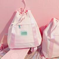 韩版ulng学院风抽绳帆布双肩包女校园学生软妹原宿风书包背包