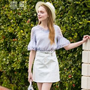 香影雪纺衫短袖女 2017夏装新款气质淑女喇叭袖镂空v领露肩上衣潮