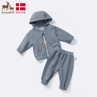 欧孕男女童秋季2019年新款套装婴幼儿宝宝连帽衣服外出两件套装