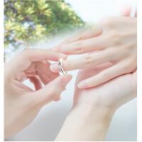 s925银男女情侣对戒指一对 简约活口订婚情侣对戒 心形可刻字送女友生日礼物 白色