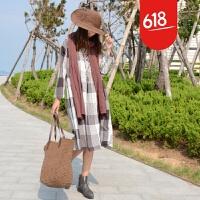 2018年秋季原创新款棉麻方格连衣裙欧美版宽松显瘦打底长袖裙女GH129 均码
