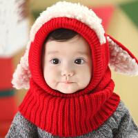 Yinbeler冬款宝宝帽子套头帽保暖加厚婴儿童帽子毛线连帽围脖狗狗披肩套头帽6-36个月 红色