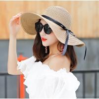 草帽女夏天韩版帽子遮阳帽防晒可折叠太阳帽沙滩帽