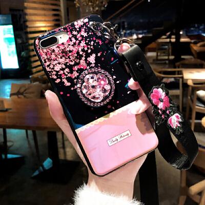 水钻玫瑰花iPhone8plus手机壳xr苹果x时尚女款7p网红xs max挂绳6s 6p/6sp 樱花指环支架