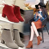 秋冬季新款磨砂百搭韩版裸靴女鞋尖头粗跟高跟鞋短靴单靴女靴潮