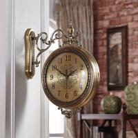 两面挂钟 天蓝欧式实木金属双面挂钟静音美式客厅两面挂表创意时钟家用钟表大号 20英寸以上