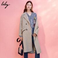 LILY冬新款女装荷叶边毛呢大衣宽松长款大衣117420F1112