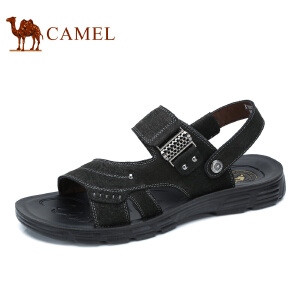 camel骆驼男鞋  夏季新品 夏日清爽透气露趾柔韧牛皮男士凉鞋