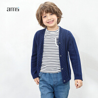 amii童装2017秋新款男童外套纯棉针织开衫中大童儿童英伦绣花毛衣