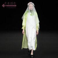 生活在左2019春夏季新款时装周米白色纯棉连衣裙文艺气质裙子女