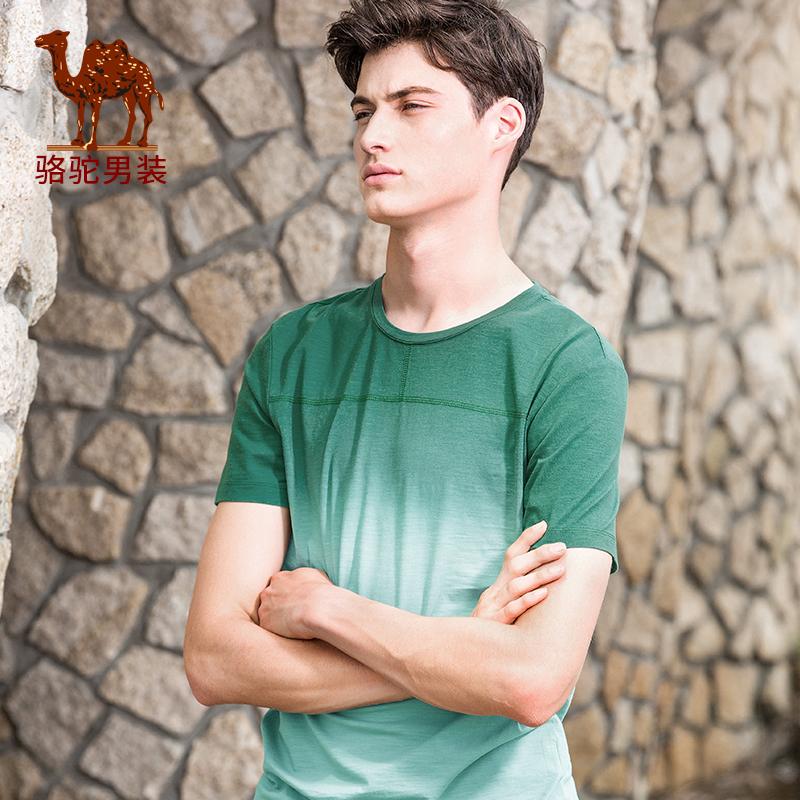 骆驼男装上衣 夏季新款时尚青年修身圆领休闲吊染短袖T恤衫男