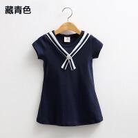 2018夏装韩版新款海军风款女童装宝宝儿童短袖连衣裙子qz-1597
