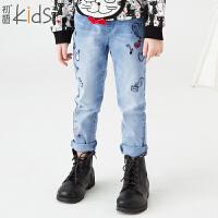 初语童装 新款 舒适男童牛仔裤中大童长裤T5318150042