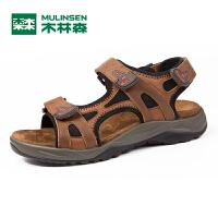 木林森男鞋  夏季新款男士凉鞋真皮魔术贴套脚沙滩鞋透气男凉鞋5267701