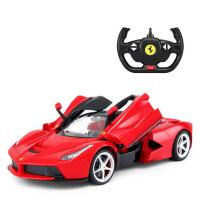 充电动遥控赛车男孩儿童玩具跑车 法拉利遥控汽车可开门方向盘