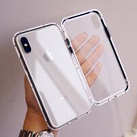 万磁王玻璃金属边框苹果xs手机壳7plus潮牌iphone8情侣6s男女 6/6s 4.7寸 透明黑色