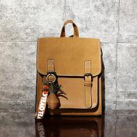 包女包旅行背包学生书包皮英伦学院风复古双肩包女 棕色 菠萝复古3