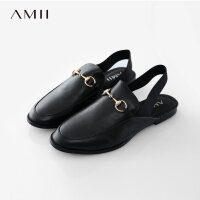 Amii[极简主义]2017夏舒适橡筋带平底穆勒鞋牛皮休闲鞋女11772342
