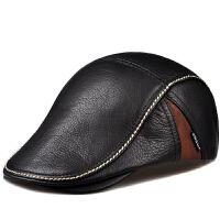 冬季男士头层帽子中老年人贝雷帽鸭舌帽老头帽薄单款