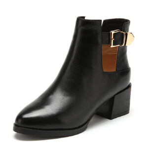 【3折到手价149.7元】菲伯丽尔Fondberyl牛皮尖头中跟拉链镂空深口女鞋FB54111827