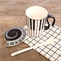马克杯 男女创意简约时尚陶瓷杯2019新款音符音乐情侣键盘对杯带盖单层咖啡杯水杯