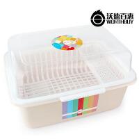厨房置物架放碗架装碗筷收纳箱塑料带盖储物碗柜晾碗盘子沥水餐具
