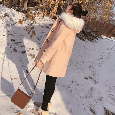 谜秀呢子大衣女中长款2017秋冬装新款韩版连帽牛角扣加厚毛呢外套