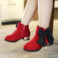 女童短靴2017秋冬新款韩版低筒公主儿童靴子中大童单靴百搭棉鞋潮
