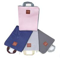 贝多美9028多层手拎考试袋 A4拉链资料袋 简约纯色手提文件袋 收纳袋 学生帆布袋 补习袋 小清新试卷袋