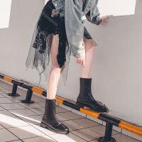 马丁靴女2019新款靴子女平底百搭英伦风机车靴女厚底短靴马丁鞋潮