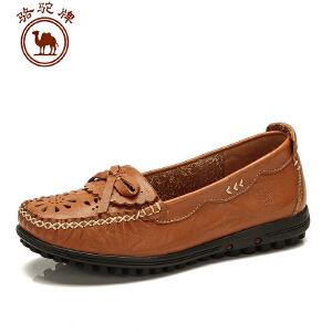 骆驼牌 春季新款时尚牛皮低跟圆头女士单鞋舒适轻便镂空女鞋子