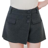 短裤秋冬款休闲靴裤外穿黑色大码打底女裤高腰毛呢