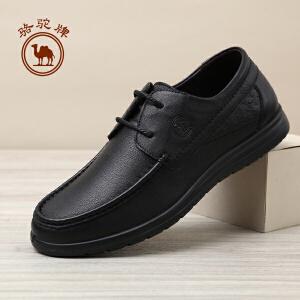 骆驼牌男鞋 秋季新款日常休闲舒适男皮鞋系带圆头耐磨男士鞋