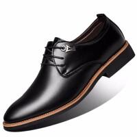 夏季时尚盖斯公牛皮鞋男士商务休闲皮鞋夏季透气英伦男士皮鞋新款婚鞋男内增高潮流尖头发型师鞋