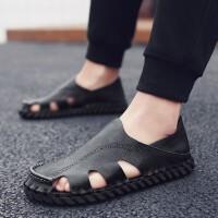 夏季时尚凉鞋男男士凉鞋皮凉鞋男夏季新款个性时尚镂空休闲鞋沙滩鞋透气包头男鞋