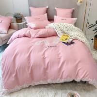 粉色少女公主风60支纯棉全棉蕾丝刺绣床上四件套用品 粉红色