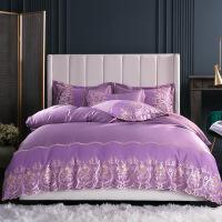 蕾丝花边床上四件套纯棉全棉面1.8床笠200230被套2.22.4