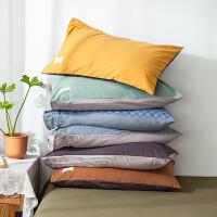 全棉纯棉枕套水洗棉枕头套双人单人纯色枕芯套48x74cm儿童枕套单个一对拍2