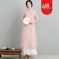 魅儿中国风刺绣连衣裙复古中长款民族风女装长裙改良旗袍L145预售GH123