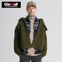 潮牌GLEMALL 短款毛呢外套男时尚oversize夹克复古工装上衣