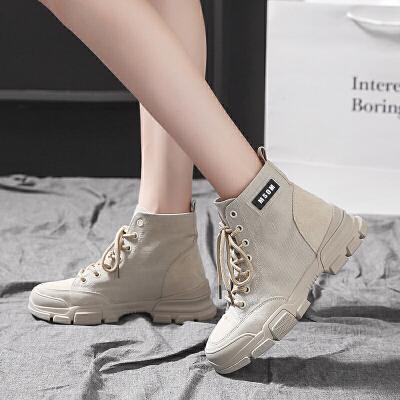 短靴女春秋单靴韩版粗跟中跟马丁靴女2019新款 百搭英伦马丁靴女