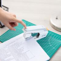 得力学生用0371省力订书机订书器便携式订书机可订40页40张表面橡胶材质大号可钉60页60张办公白领订资料试卷