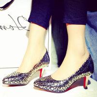 娜箐箐韩版浅口套脚时尚女鞋尖头细高跟真皮低帮女单鞋