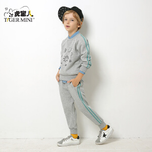 小虎宝儿童装男童秋季套装1-2-3一4岁潮 韩版儿童卫衣两件套新款